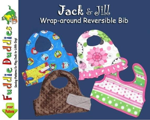 Reversible wrap-around Bib Pattern. Baby Bib, Girl's ruffle Bib Pattern, Infant Pattern.Toddler Pattern, INSTANT DOWNLOAD, Baby Shower Gift.