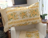 Vintage Shabby Chic Pillow Cases Yellow Floral Like New Sears Queen Made in Canada SEARS