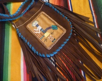 Brown Leather Beaded, Fringed Kachina Bag, Purse,Native American Design