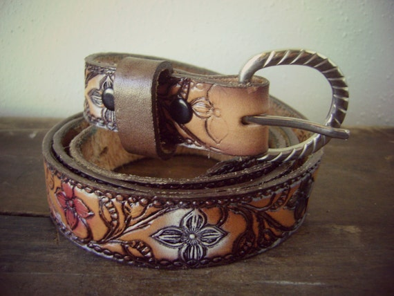 70s tooled floral leather belt name jean on back hippie