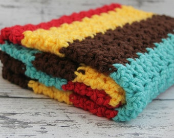 Crochet Baby Blanket, Baby Blanket, Brown, Yellow, Turquoise, Red, Travel Stroller Size