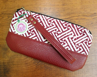 Small Wristlet Wallet Red and White Greek Key Print Canvas with Red Faux Leather