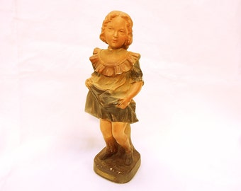 French Antique Painted Chalkware Plaster Young Girl Plaster Statue 1900 (B128)
