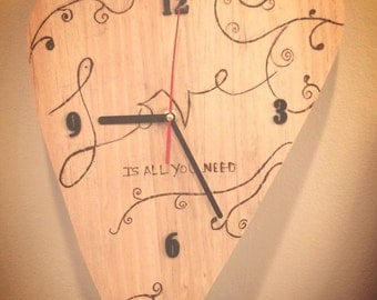 Wood burnt Clock