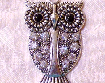 Large Owl Pendant with Rhinestone Embellishments ~ 62mm x 37mm