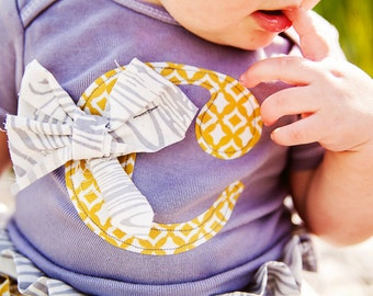 Swanky Baby Girl Hand Dyed Grey Initial Bodysuit with Rag-tie  (Choose your own Initial)