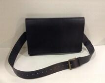 Black Leather Briefcase Bag,Flappy MacBook Air Bag