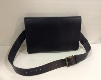 Black Leather Briefcase Bag,Flappy MacBook Air Bag