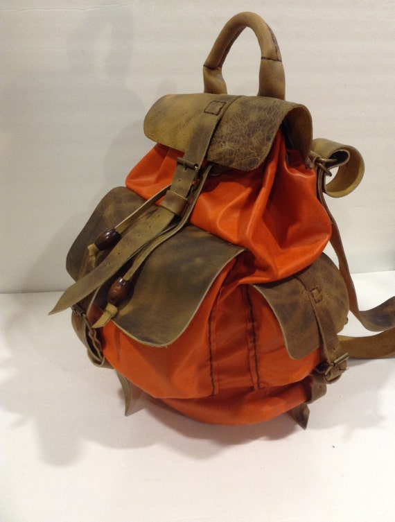 Backpacks,Leather Backpacks Bag,Orange Leather Bacpack Bag,Hand-stitched Light Backpack Sac