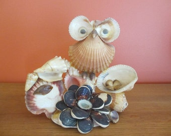 Sea Shell Art Owl on Sea Shell Base Hand Made Folk Art Kitsch 1970's