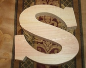 "LARGE 12"" Unfinished Natural Wood Monogram Letter S Nursery Decor Home Accent Wall Decor 3/4"" or 1-1/2"" Thick"