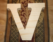 "LARGE 12"" Unfinished Natural Wood Monogram Letter V Nursery Decor Home Accent Wall Decor 3/4"" or 1-1/2"" Thick"