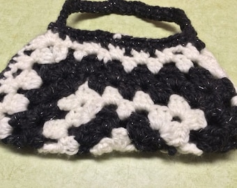 Black and White Granny Square Purse