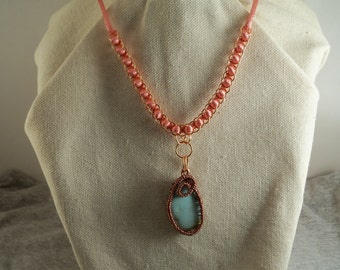 Wire-Wrapped turquoise Pendant on a soft polyester cord