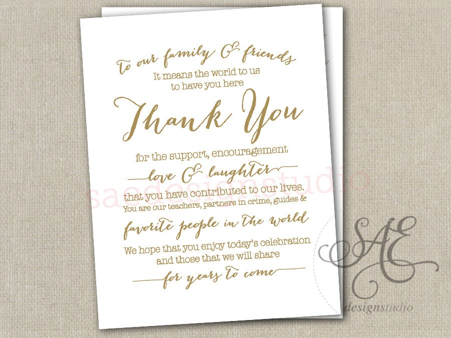 Wedding Day Reception Thank You Menu Size Table By