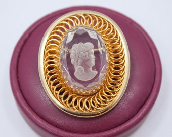 """Vintage Cameo Brooch / Pin - Glass Cameo - Reverse Carved Clear Glass Stone - Gold Plated Spiral Metal Frame - 1 5/8"""" x 1 3/8"""""""