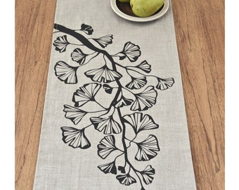 Gingko Trail Linen Table Runner - Multi Sizes - Natural / Black