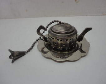 Vintage Silver Plated Tea Pot Loose Leaf Tea Caddy Strainer With Tray