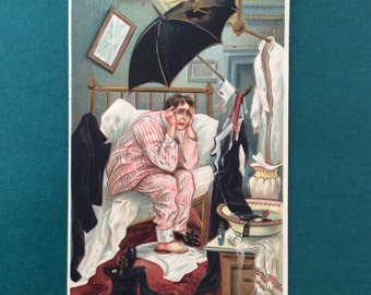 VINTAGE NEW YEARS Postcard circa 1910 Hilarious Calamity