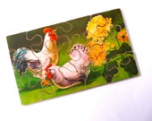 Wooden Jigsaw Picture Puzzle Chickens RESERVED