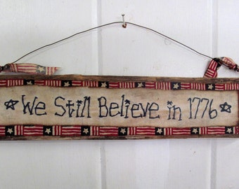 PATRIOTIC USA Sign on Reclaimed Wood - PRIMITIVE 1776