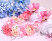 baby flower crown, peach floral headband, pink flower crown, flower girl flower crown, flower girl floral crown, baby crown, baby headband,