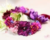 baby flower crown, purple floral crown, flower girl flower crown, baby floral headband, floral headband for babies, flower headband