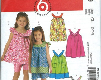 McCall's 5839 Girls Tops, Dresses and Shorts Pattern, Size 6-7-8 UNCUT