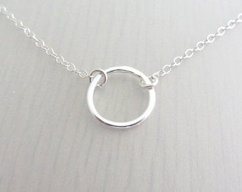 "Sterling Silver Circle Necklace, Single Ring Necklace, Eternity Ring Necklace, Infinity Circle Necklace, 1/2"" Circle Ring, 14mm Circle Ring"
