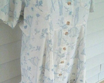 Soft blue grey floral silk  tunic  top