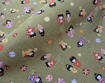 Japanese fabric green kokeshi doll cotton half a yard, quilt decoration tenugui japanese kokeshi cotton fabric, kawaii tenugui fabric
