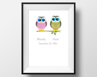 Owl Love, Wedding and Engagement Digital Print. Customisable