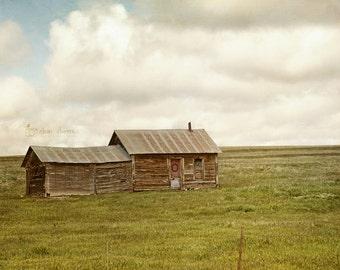 Farmhouse Art Print, Landscape Photography, Wall Art, Rustic Country Decor, Blue & Green | 'Sweet Prairie Home'