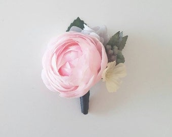Pink ranunculus silk flower boutonniere | Groom and groomsmen buttonhole