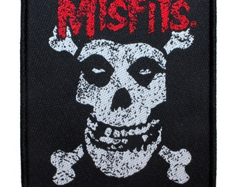 """Band """"Misfits"""" Fiend Skull & Crossbones Horror Punk Music Woven Sew On Applique Patch"""