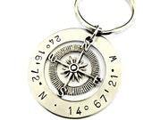 Personalized Latitude Longitude Compass Keychain Custom Hand Stamped Coordinates Key Chain- Location GPS Graduation Anniversary Gift for Him