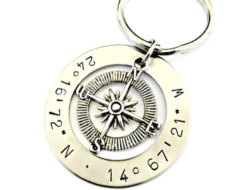 Personalized Latitude Longitude Compass Keychain Custom Hand Stamped Coordinates Key Chain- Location GPS Graduation Anniversary Gift for Him