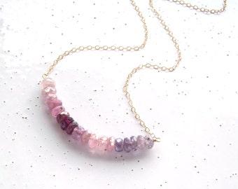 14k Gold Filled & Multicolor Spinel Bar Necklace