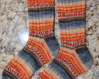Hand Knit Mens or Womens Wool Socks - Opal Sock Yarn (S-169)
