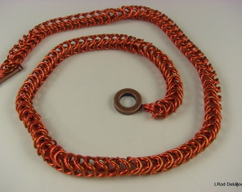 Flaming orange and copper box chain necklace
