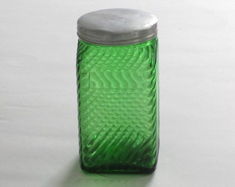 Vintage Forest Green Diagonal Ribbed Canister by Owens Illinois with Original Metal Lid 20 oz. Size