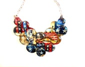 Patriotic Statement Neckalce  American Flag Stars and stripes red white and blue liberty american pride