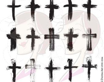 Brush Christian Crosses Catholic Faith Brushstroke Paintstroke Rustic Grunge VECTOR Clipart DIY Sympathy Wedding Card Scrapbook Craft 10651