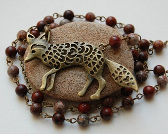 Spirit of the Red Fox Brecciated Jasper Witch's Ladder/Druid's Ladder/Prayer Beads/Necklace. Pagan Druid Shaman Witch Totem Power Animal