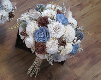 Wedding Bouquet, Sola wood Bouquet, Woodland Dried Bouquet, Bridal Bouquet, Sola flowers, Alternative Bouquet, Rustic Handmade