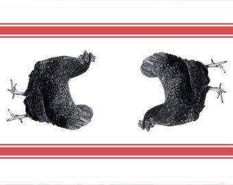 Black Hen Tea Towel