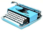 Revitalized Blue Nippo Argyle Typewriter Professionally Refurbished Portable w/Two New Ribbons & New Platen