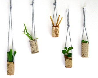 Set of 5 Hanging Wine Cork Plant Containers