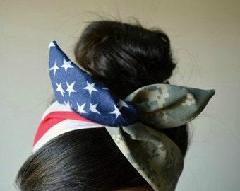 US Army girlfriend, American headband, ACU American flag Camo Dolly bow, Military American Flag head band, hair bow, A1
