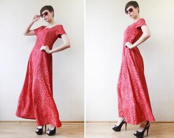 Vintage red naive floral print short sleeve sun maxi dress M